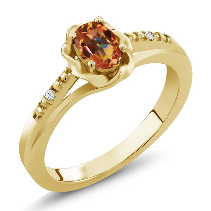 0.52 Ct Mystic Topaz White Created Sapphire 18K Yellow Gold Plated Silver Ring