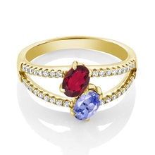 1.36 Ct Red Mystic Topaz Tanzanite Two Stone 18K Yellow Gold Plated Silver Ring