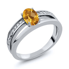 0.86 Ct Oval Checkerboard Yellow Citrine 925 Sterling Silver Ring