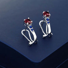 1.40 Ct Red Rhodolite Garnet Blue Simulated Sapphire 925 Silver Earrings