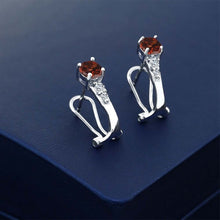 1.34 Ct Round Red Garnet White Topaz 925 Sterling Silver Earrings