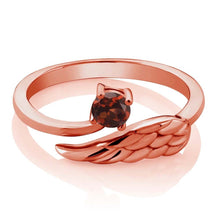 Red Garnet 18K Rose Gold Plated Silver Wing Ring