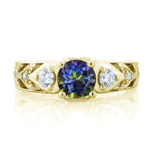 2.26 Ct Round Blue Mystic Topaz 18K Yellow Gold Plated Silver Ring