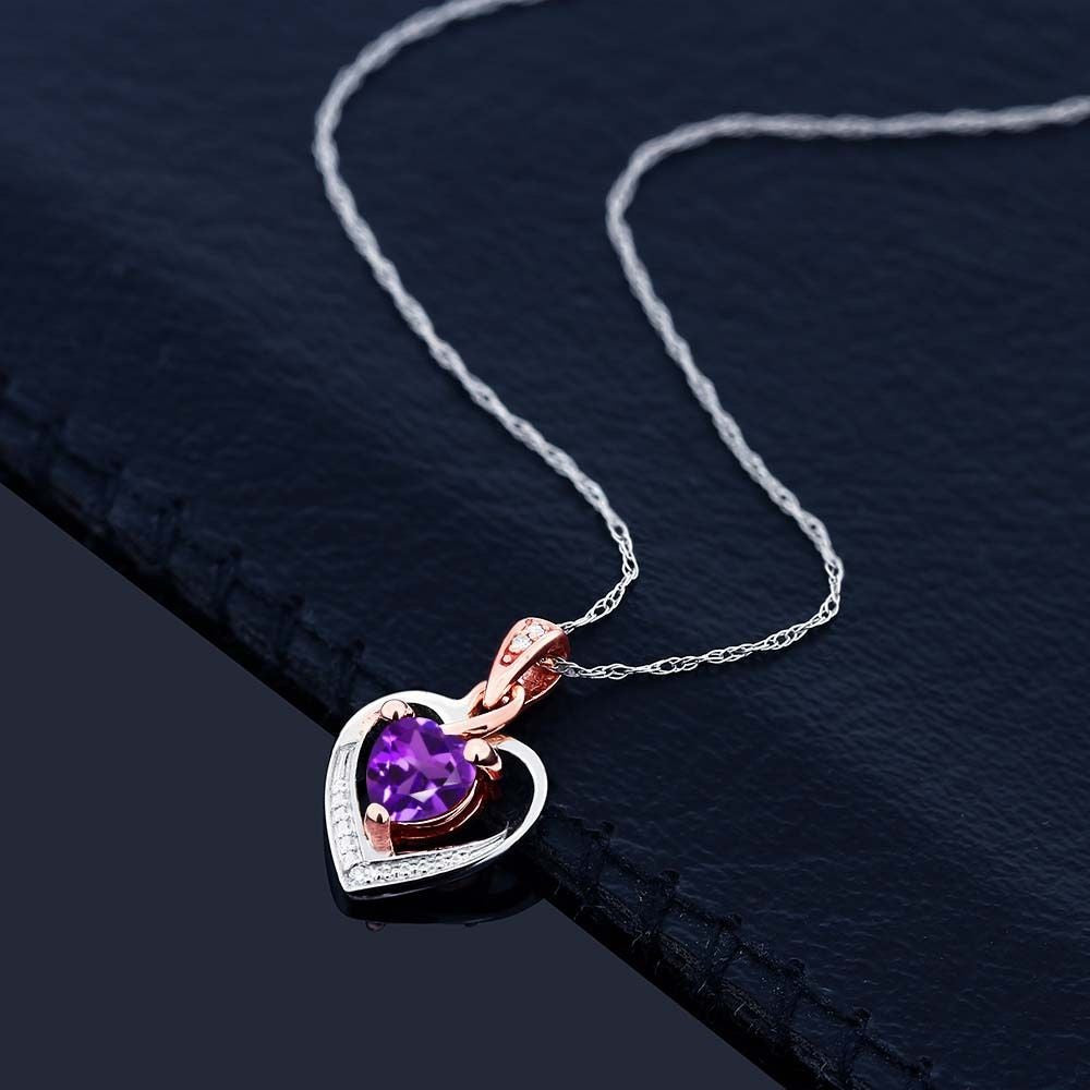 loxlux zirconia jewelry products cubic double zircon crystal heart pendant luxury love necklace purple