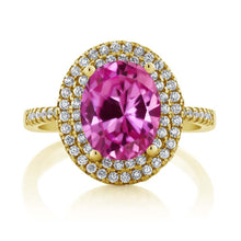 4.55 Ct Oval Pink Created Sapphire 18K Yellow Gold Plated Silver Ring