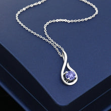 Blue Tanzanite 925 Sterling Silver Pendant With Chain