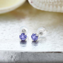 Blue Tanzanite 14K White Gold Stud Earrings