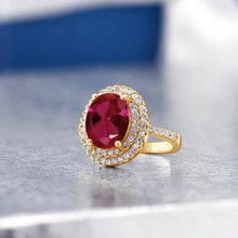 3.80 Ct Oval Red Created Ruby 18K Yellow Gold Plated Silver Ring