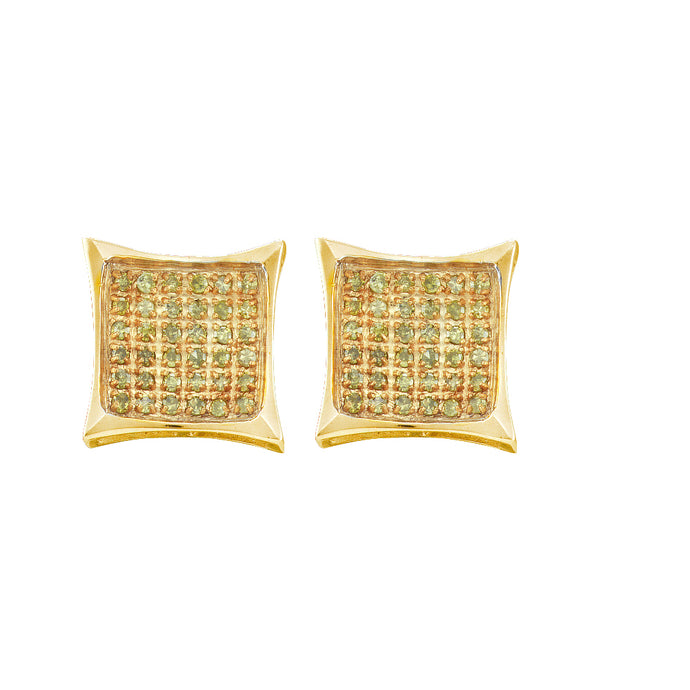 10kt Yellow Gold Womens Round Yellow Colored Diamond Square Kite Cluster Earrings 1/10 Cttw