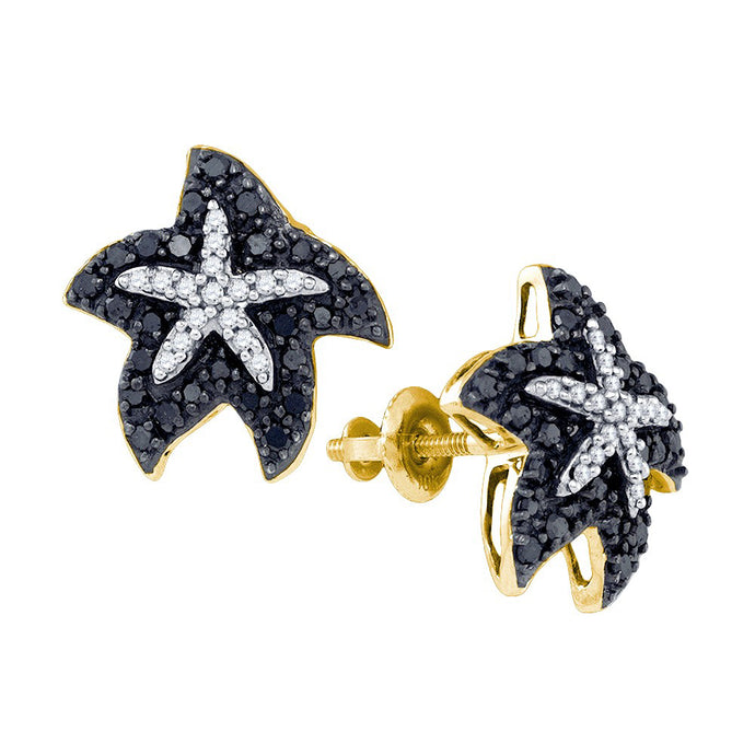 10kt Yellow Gold Womens Round Black Colored Diamond Starfish Stud Earrings 3/8 Cttw