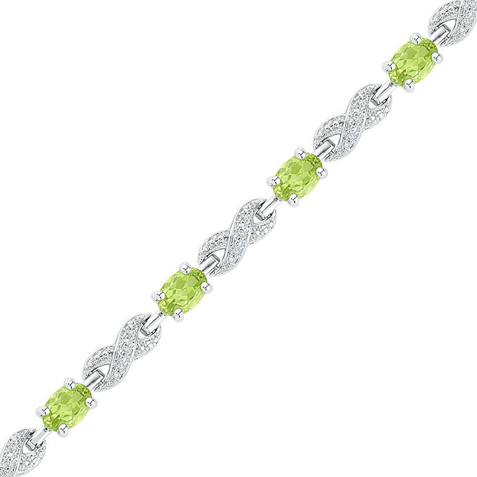 Sterling Silver Womens Oval Lab-Created Peridot Diamond Infinity Tennis Bracelet 4-3/4 Cttw