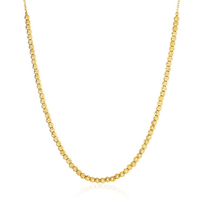 14K Yellow Gold Textured Bead and Chain Necklace
