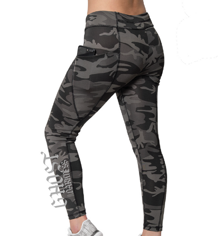 Ghost Branded Workout Leggings - Black Camo - JBRD