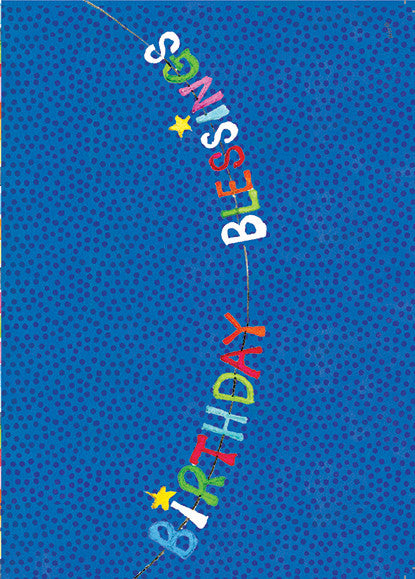 Birthday Banner on Blue Dot