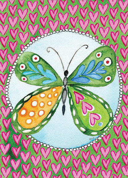 Butterfly on Pink Heart