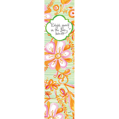 Pink Floral on Green Bookmark