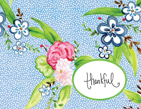 Blue Floral Boxed Notes
