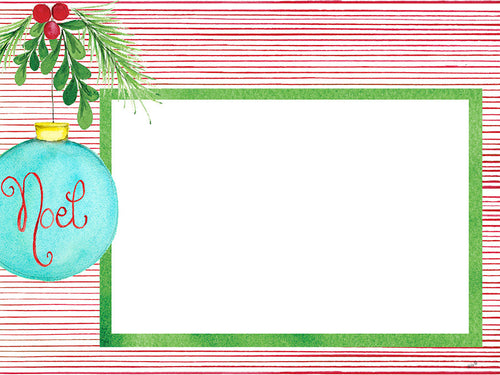Noel Blue Ornament Card