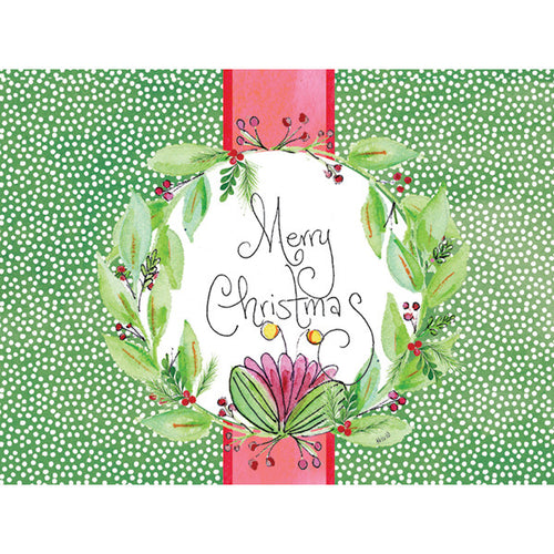 Green Polka Dot Wreath Cards