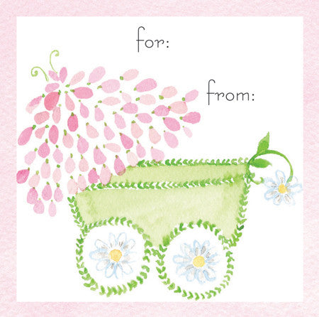 Pink Baby Carriage Gift Tags