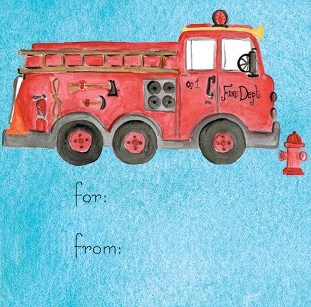 Red Fire Truck Gift Tags