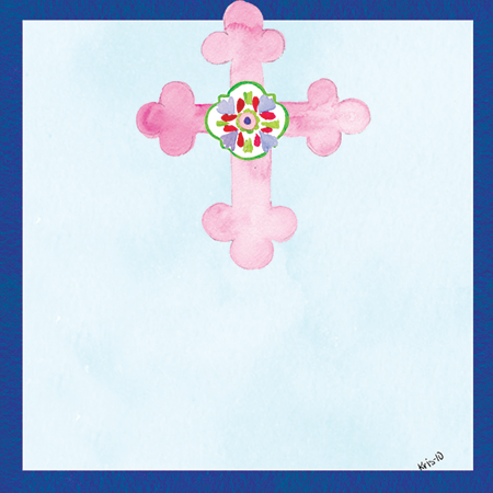 Pink Cross on Blue Gift Tags