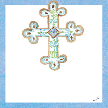 Teal Blue Cross Gift Tags
