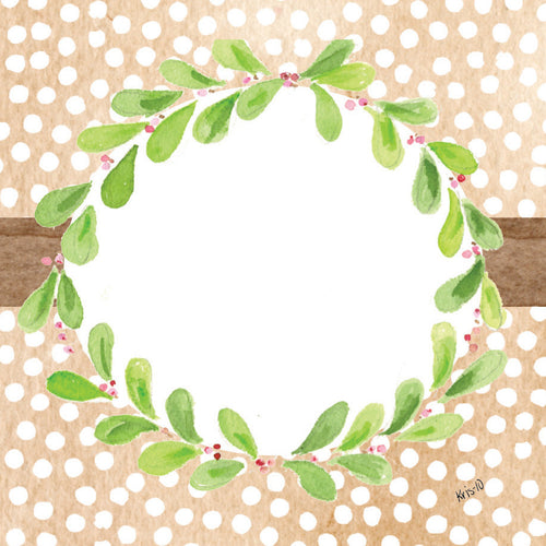 Brown Dot Wreath Gift Tags