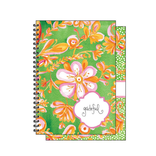 Pink Floral on Green Journal