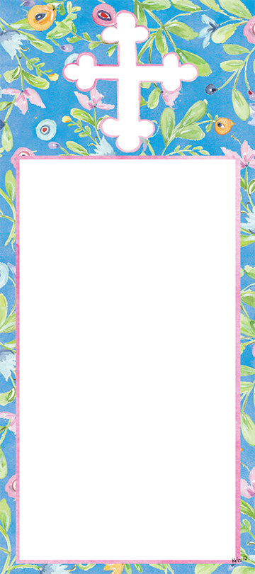 Blue Floral Cross Notepad