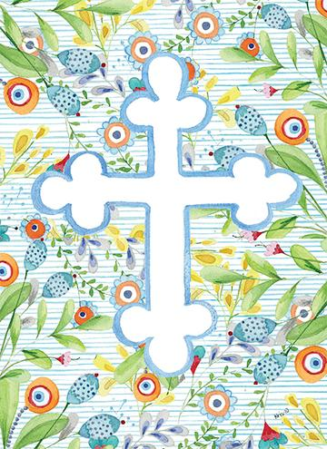 Blue Floral Cross