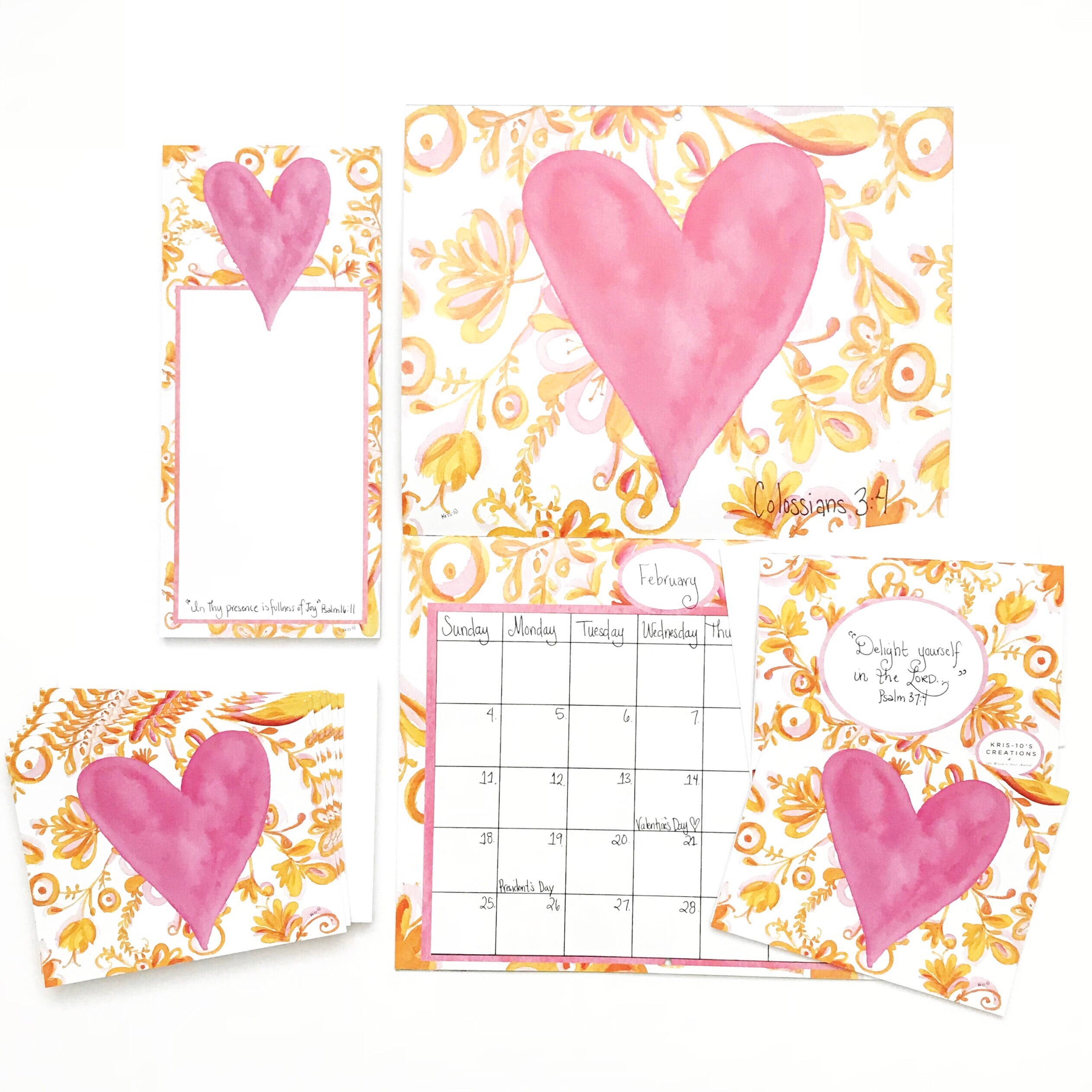 Pink Heart Boxed Notes