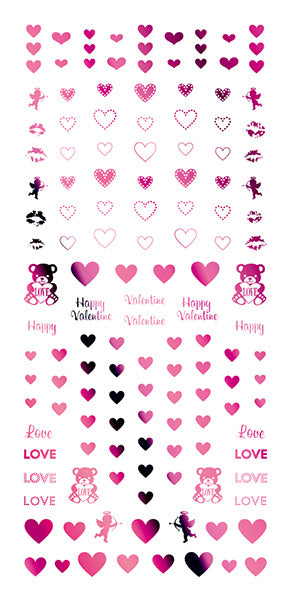 Tsumekira Valentine Heart Pink SG-VLT-304 (For Gel)