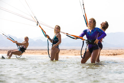 Women kiteboarding