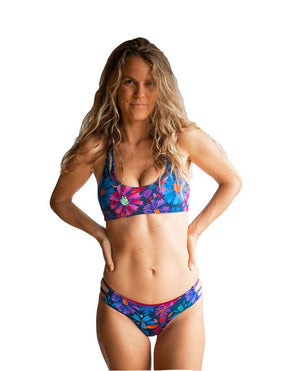 Colleen Eco Friendly Reversible Bikini Top - Bloom/Ruby Bikini Top Classic Sensi Graves Bikinis