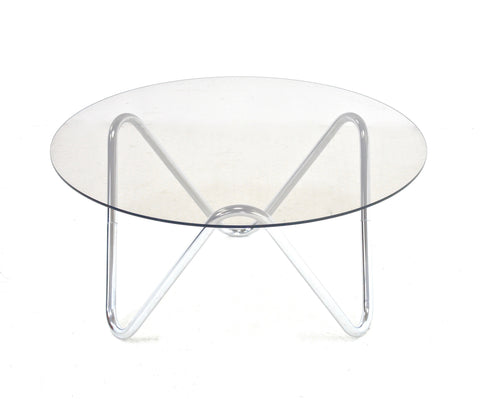 MID CENTURY ENGLISH CHROME AND GLASS COFFE TABLE
