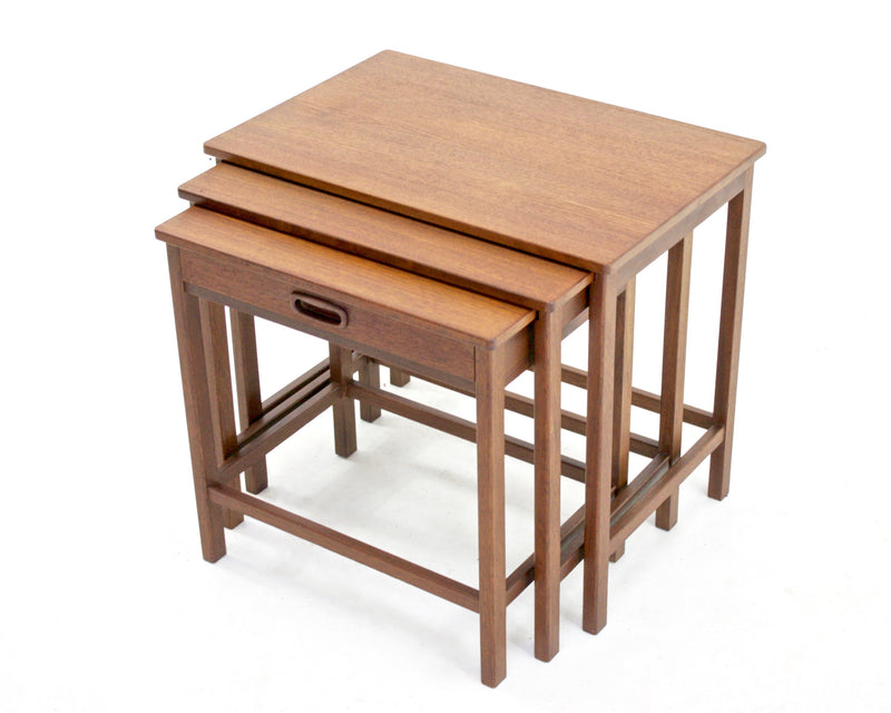 Danish Nest Of Tables With Drawer