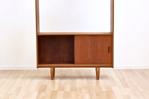 MID CENTURY TEAK CHINA CABINET BOOKCASE