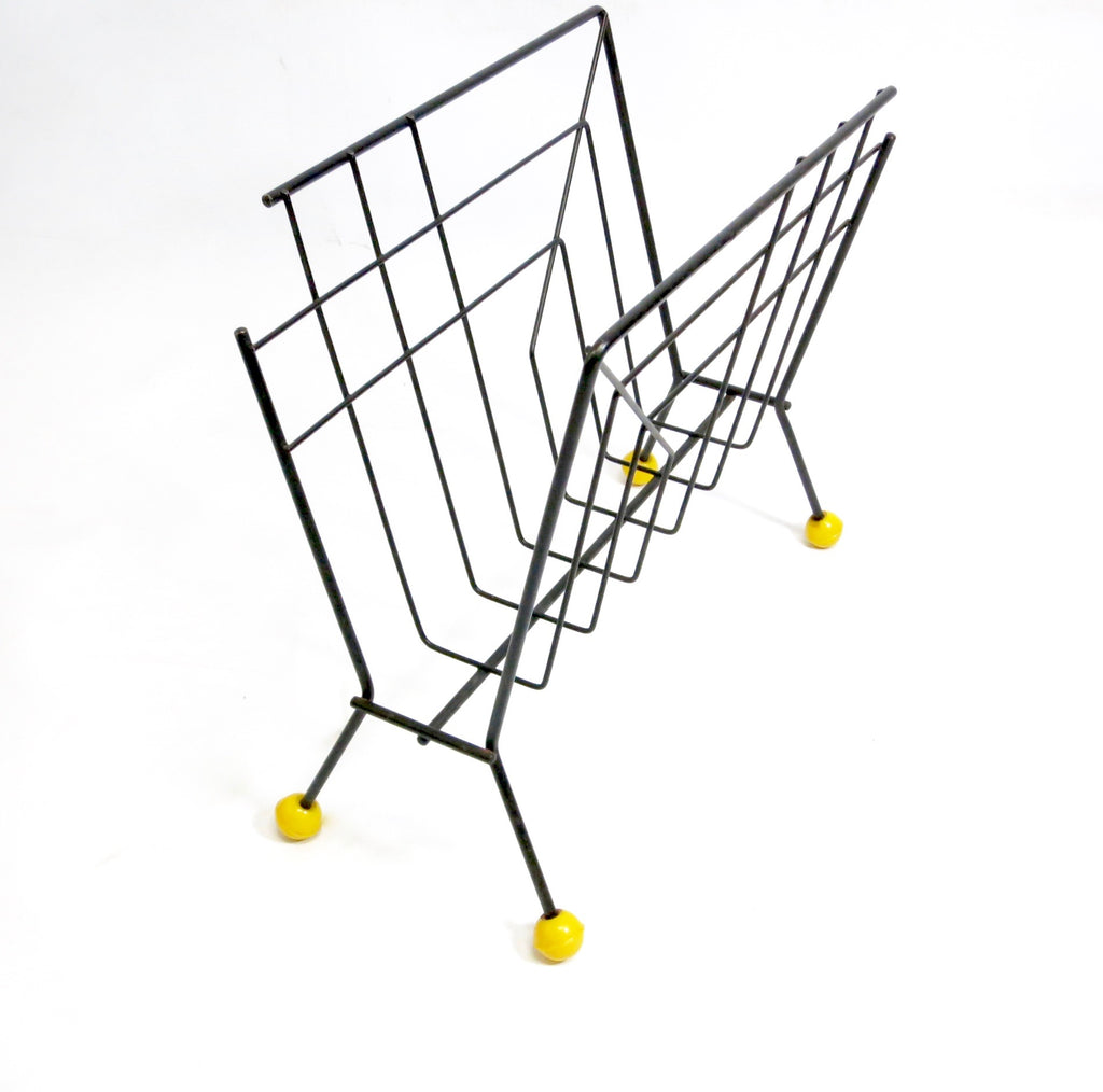 MID CENTURY ATOMIC MAGAZINE RACK IN BLACK AND YELLOW