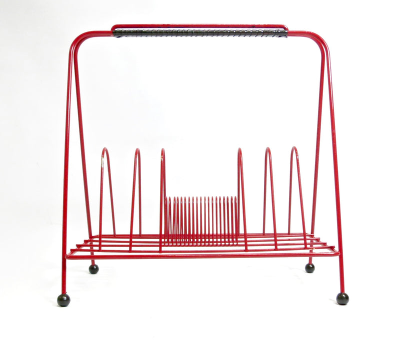 MID CENTURY ATOMIC VINYL RECORD/MAGAZINE RACK IN RED AND BLACK