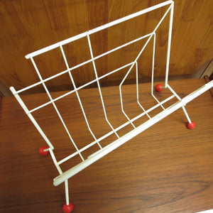 MID CENTURY ATOMIC MAGAZINE RACK IN WHITE AND RED
