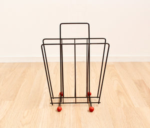 MID CENTURY ATOMIC TEAK AND BRASS TOAST RACK BY WYNCRAFT
