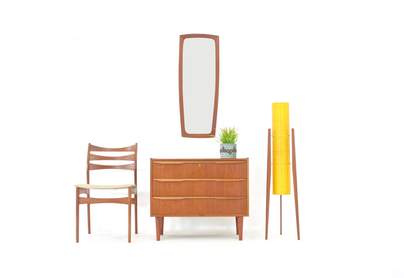 Mid Century Mirror And Side Table Set Danish
