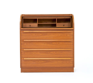 Mid Century Bureau Roll Top Danish