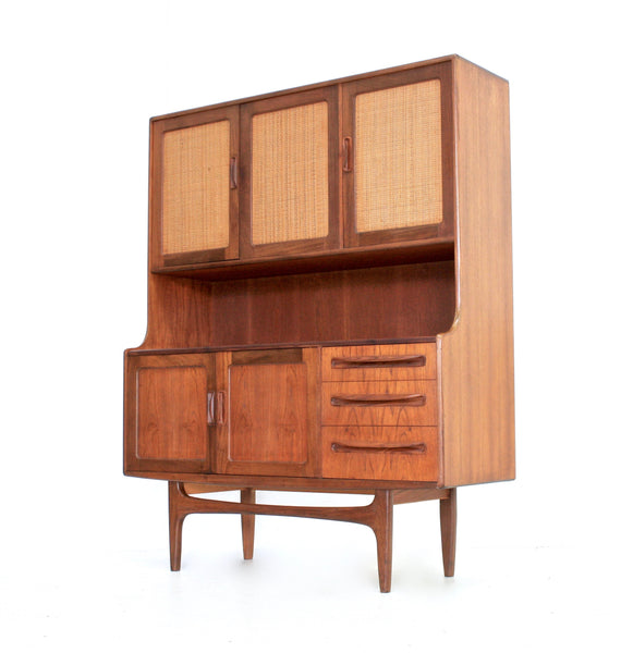 MID CENTURY TEAK AND RATTAN TALL CREDENZA BY G PLAN
