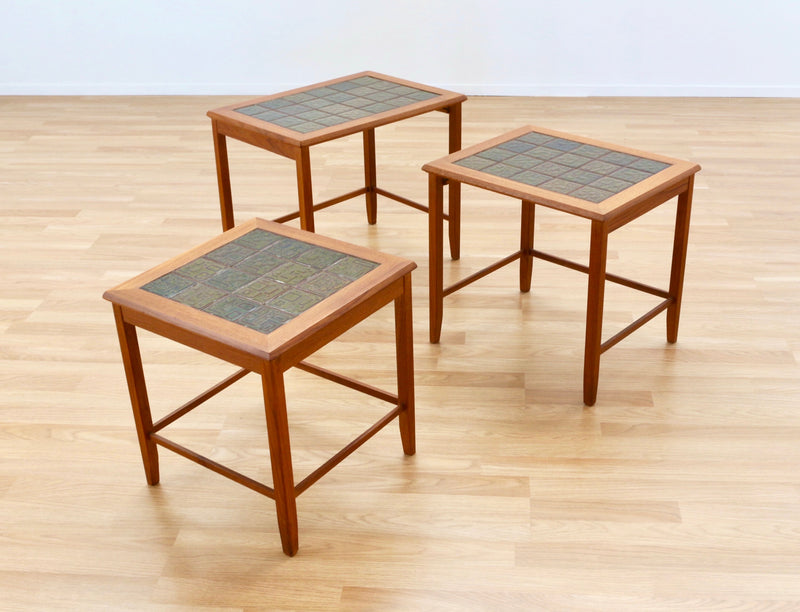 DANISH MODERN SET OF TEAK & TILE NESTING TABLES