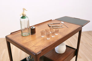 MID CENTURY BAR CART BY KOFOD LARSEN FOR E GOMME OF LONDON