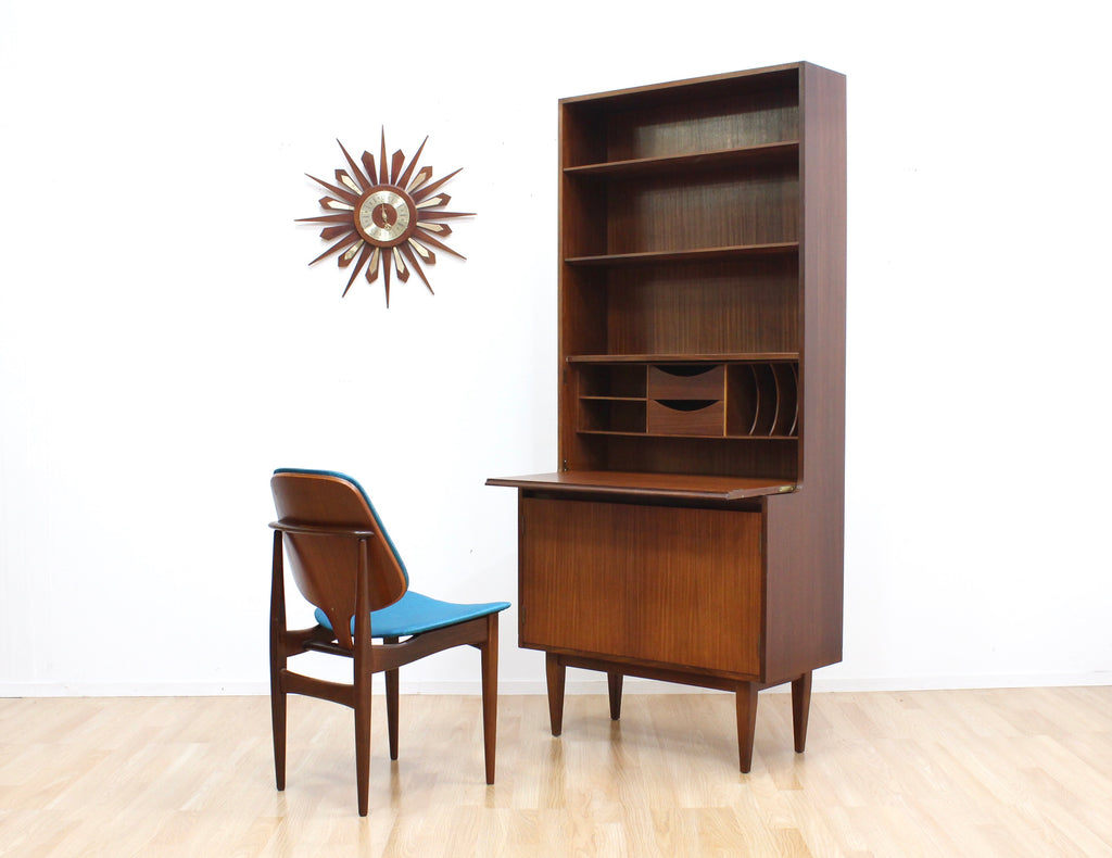 MID CENTURY TALL DESK BUREAU/BOOKCASE