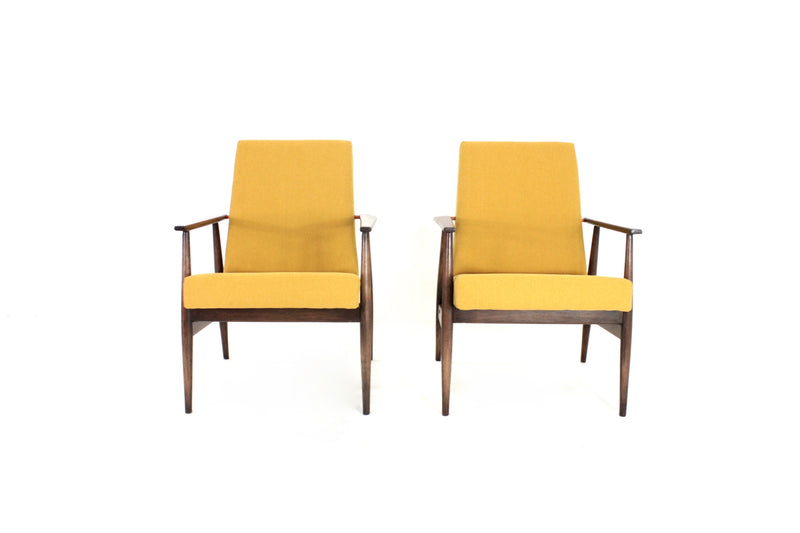 MID CENTURY LOUNGE CHAIRS BY DUX MOBLER OF DENMARK IN MUSTARD