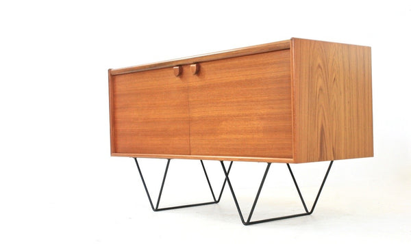 MID CENTURY VINYL RECORD CABINET / SMALL CREDENZA BY TURNIDGE